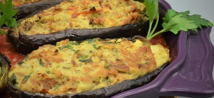 Scuola di cucina parola al cibo Melanzane ripiene